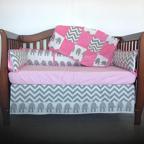 Crib Set Elephant Chevron hot pink,Girl Crib Bedding, Elephant Nursery Bedding