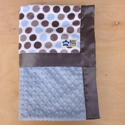 Baby blanket  Blue Silver dot ,Receiving blanket , Car seat blanket .