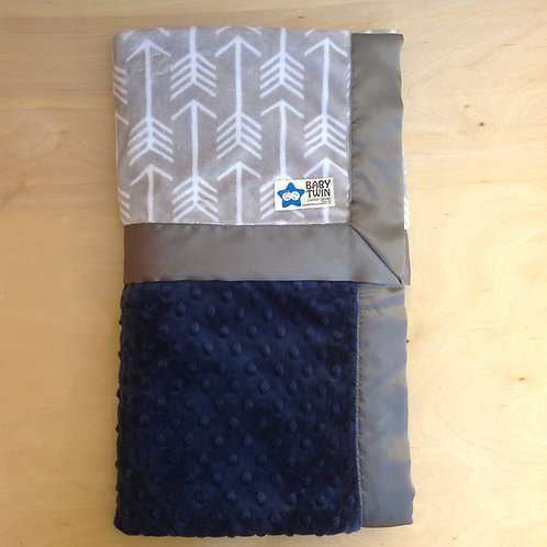 Baby blanket Grey Archer Navy Blue , Receiving blanket arrows ,