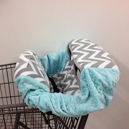 Shopping Cart Covers- Grey Chevron/ Turqouise