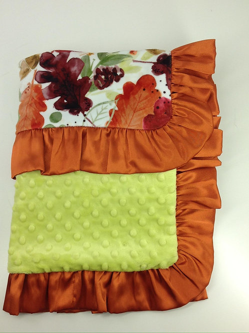 30x36 Blanket- Autumn Leaves/ Lime