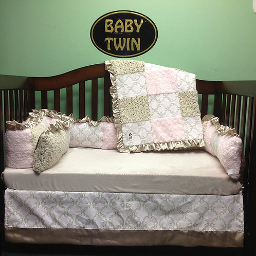 Crib set Madison Cozy/ Bella,Nursery Bedding pink and gold,Home & Living