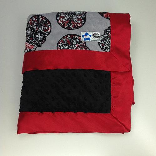 30x36 Baby Blanket- Grey Sugar Skulls/ Black