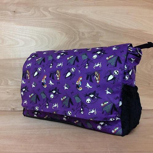 Diaper Bag/ Messenger Style/ Jack Skellington/ Black