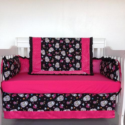 Skulls Crib Set ,Flokoric Skulls Crib bedding. Calaveras Crib set.