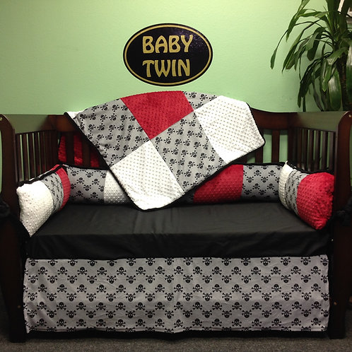 Crib Set Grey Jolly Roger.Custom Skulls Crib set.Skulls Bedding.Home & Living.