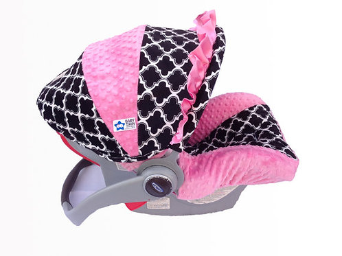 Infant Car Seat Cover-Black Marakesh/ Pink