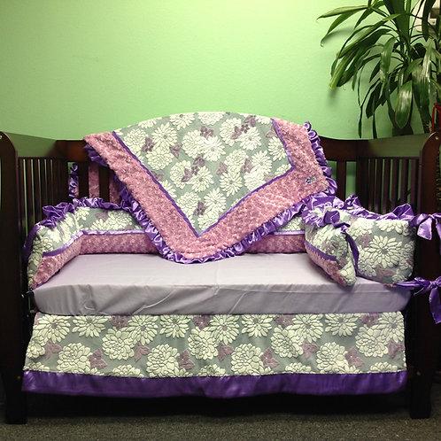 Crib set Purple Floral,Nursery bedding set Floral.