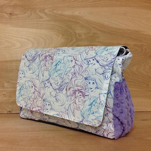 Diaper Bag/ Messenger Style/ Little Mermaid/ Lavender