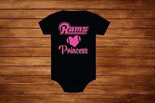 Girl Onesie Rams. Princess NFL. La Rams Pink .Custom Onesie Body suit