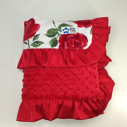 30x36 Baby Blanket- Roses/ Red