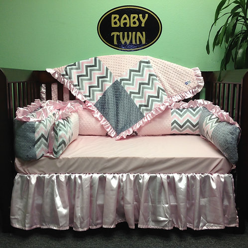 Pink and Grey Chevron w/ grey and pink minky