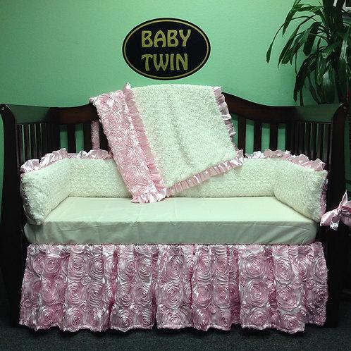 Crib Set Pink Rosette Ivory,Elegant Baby Girl Bedding,Home & Living.