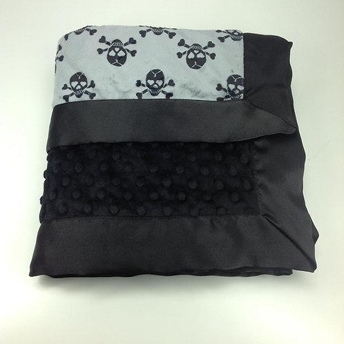 30x36 Baby Blanket- Grey Jolly Roger/ Black