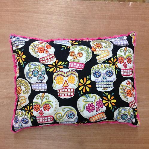 Travel Memory foam Pillow-Sugar Skulls/ Fuschia