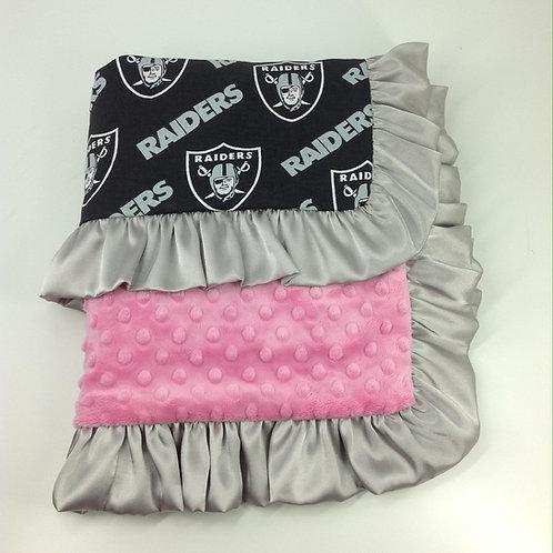 30x36 Baby Blanket- Las Vegas Raiders/ Bubblegum Pink