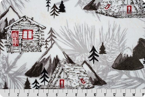 Snow Summit. Cabin in the Mountains. Snow Minky Fabric