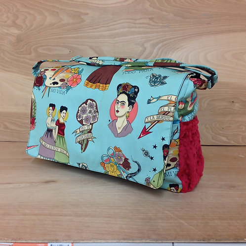 Diaper Bag- Frida Khalo Red Minky Dot