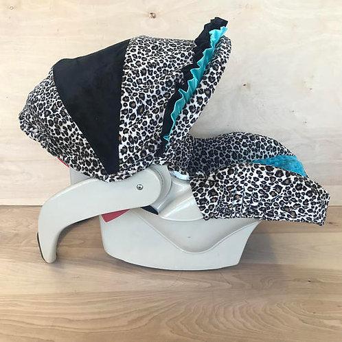 Infant Car Seat Cover-Tan Cheetah/ Teal