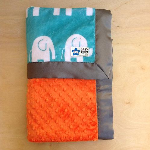 Baby blanket Elephant teal , receiving blanket elephant teal and orange .