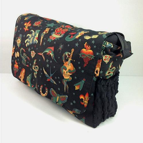 Diaper Bag- Black Tattoo/ Black