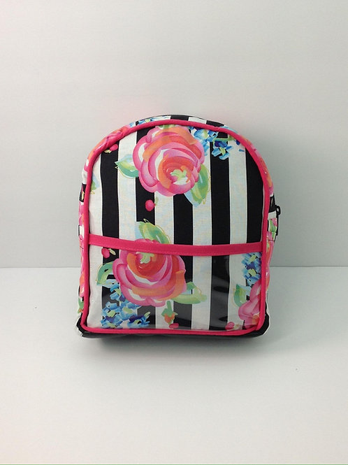 Kid's Mini Backpack- Watercolor Floral Stripes