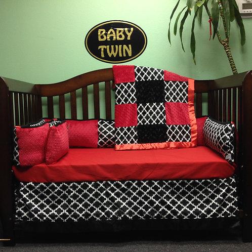 Black and white Cabana Crib set,Nursery Bedding,Home & Living.