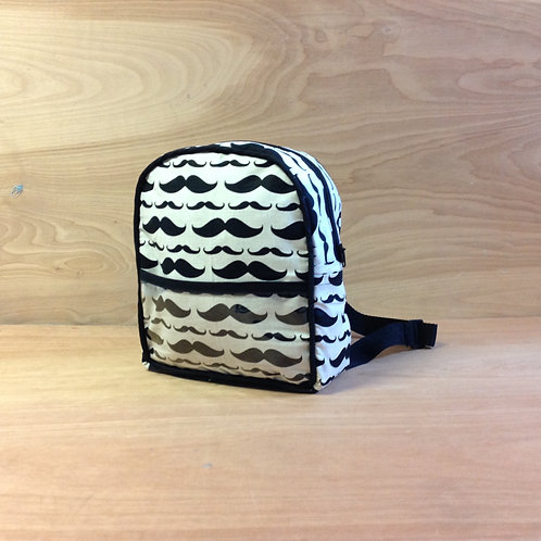 Kid's Mini Backpack- Moustache/ Black
