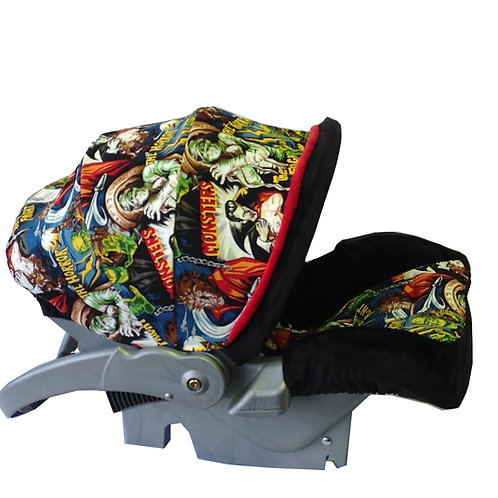 Infant Car Seat Cover-Monsters/ Black