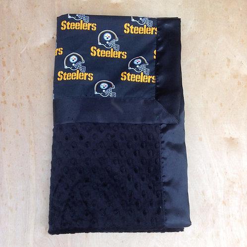 Baby blanket Steelers Black , Receiving blanket , Car seat blanket .