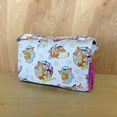 Diaper Bag/ Messenger Style/ Flintstones/ Raspberry