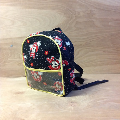 Kid's Mini Backpack- Black Polka Dot Minnie/ Yellow