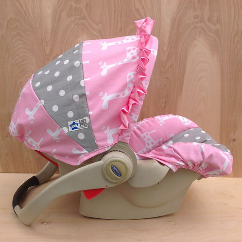 Infant Car Seat Cover-Pink Giraffe Stretch/Silver Dot