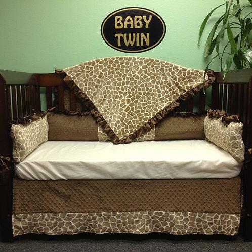 Crib set Tan Giraffe,Nursery bedding Jiraffe. Safari baby bedding.