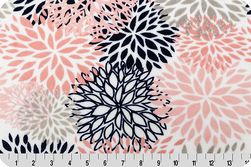 Bloom Coral Flower. Coral Flower. Coral Bloom Minky Fabric
