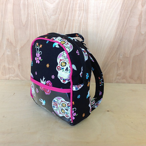 kid's Mini Backpack- Glitter Skulls/ Fuchsia