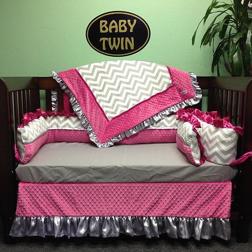 Crib set Grey Chevron and Hot Pink.Nursery bedding set.
