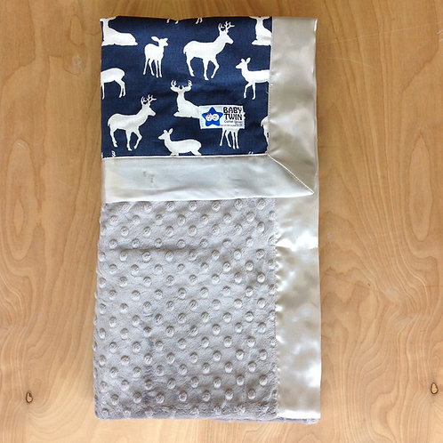 Baby blanket Navy Deers,Receiving blanket navy deers