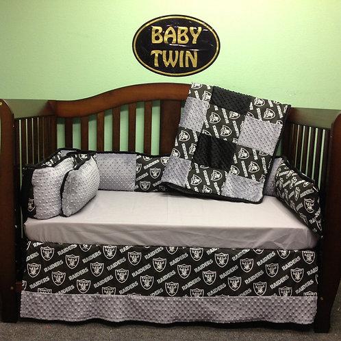 Raiders bedding. Crib set Oakland Raiders,Home & Living,Raiders Crib set.