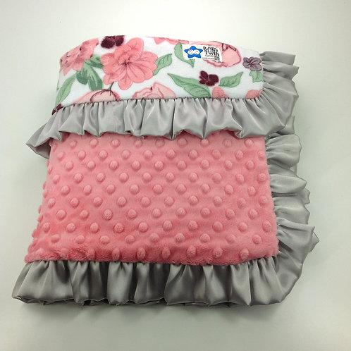 30x36 Baby Blanket- Pink Floral Bloom/ Coral