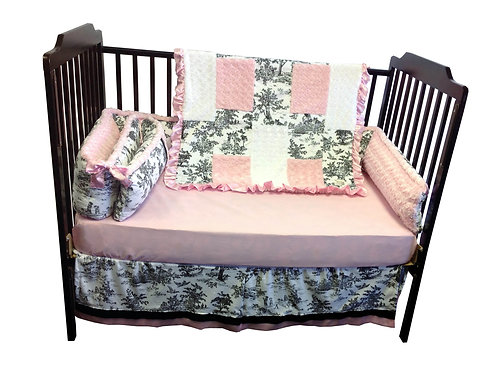 Crib set Black Toil,Nursery bedding toil.