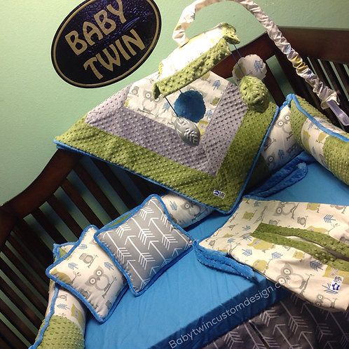 Crib set Owls Green,Owls Crib Bedding,Nursery Bedding .Home & Living.