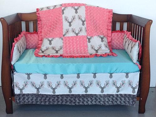 Crib Bedding Set- Floral Deer/ Coral and Baby Blue Rosebud