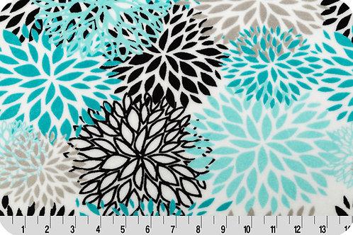 Bloom Turquoise Flower. Turquoise Flower. Turquoise Bloom Minky Fabric