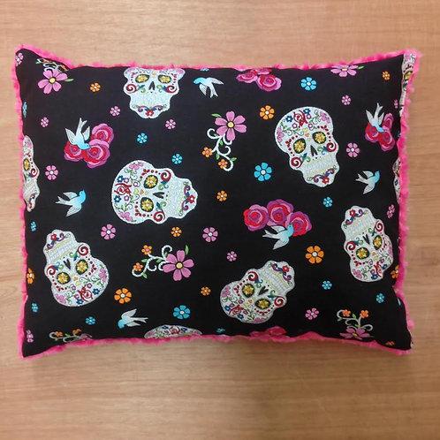 Travel Memory foam Pillow- Flokoric Skulls/ Fuschia