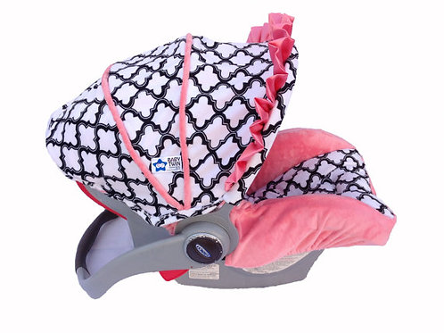Infant Car Seat Cover-White Marakesh/ Coral