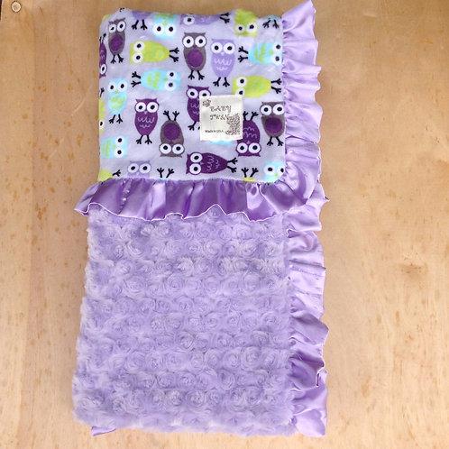 Baby blanket Purple Owls ,Receiving blanket owls , car seat blanket.