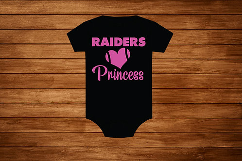 Girl Raiders Onesie. Raider Princess. NFL Raiders pink. Girl Raiders Bodysuit.
