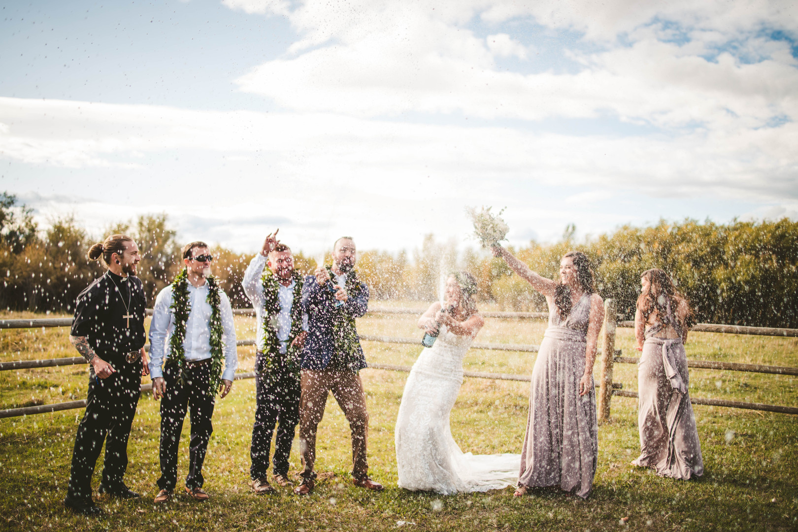 Danny and Kaytlin Deveney celebrate their wedding in Whitehall, Montana
