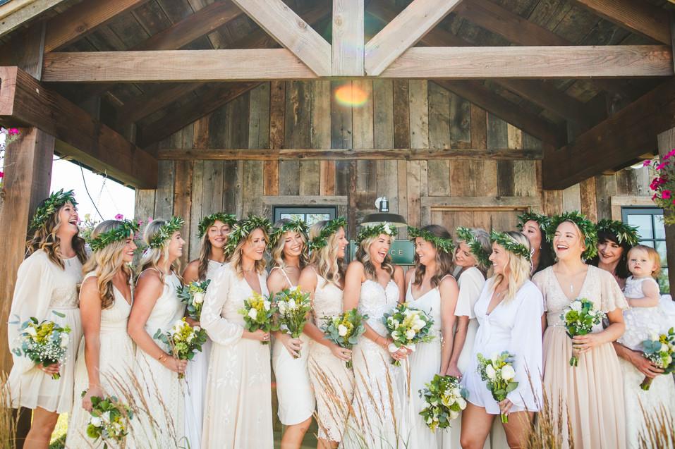 Jackie Adamek's bridesmaids at Firelight Farm